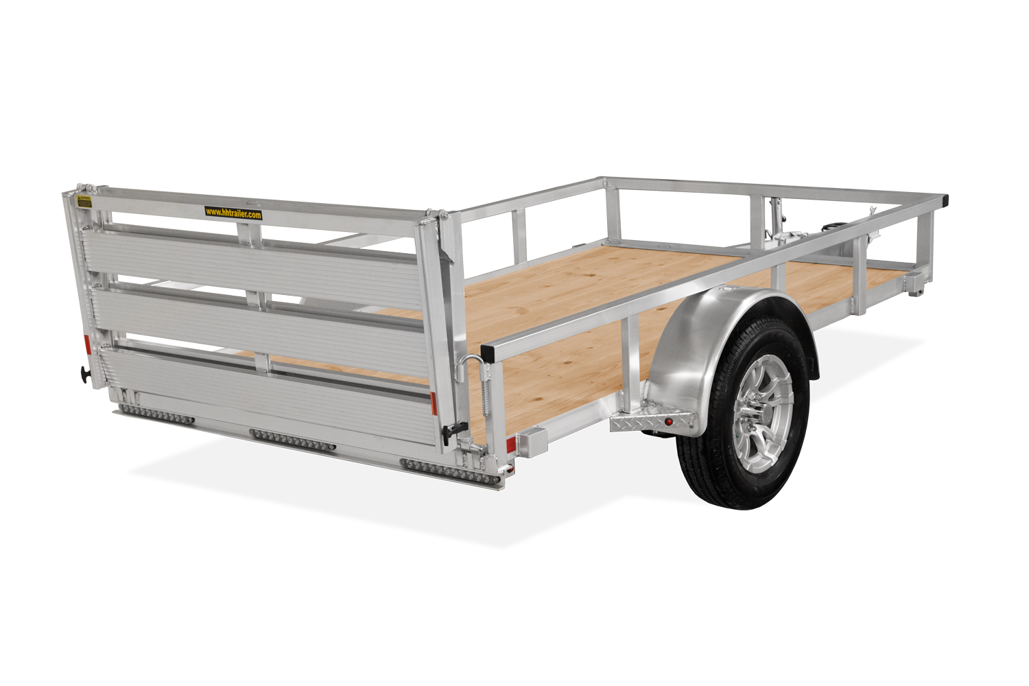 H&H Trailers Aluminum Rail Side Rear View
