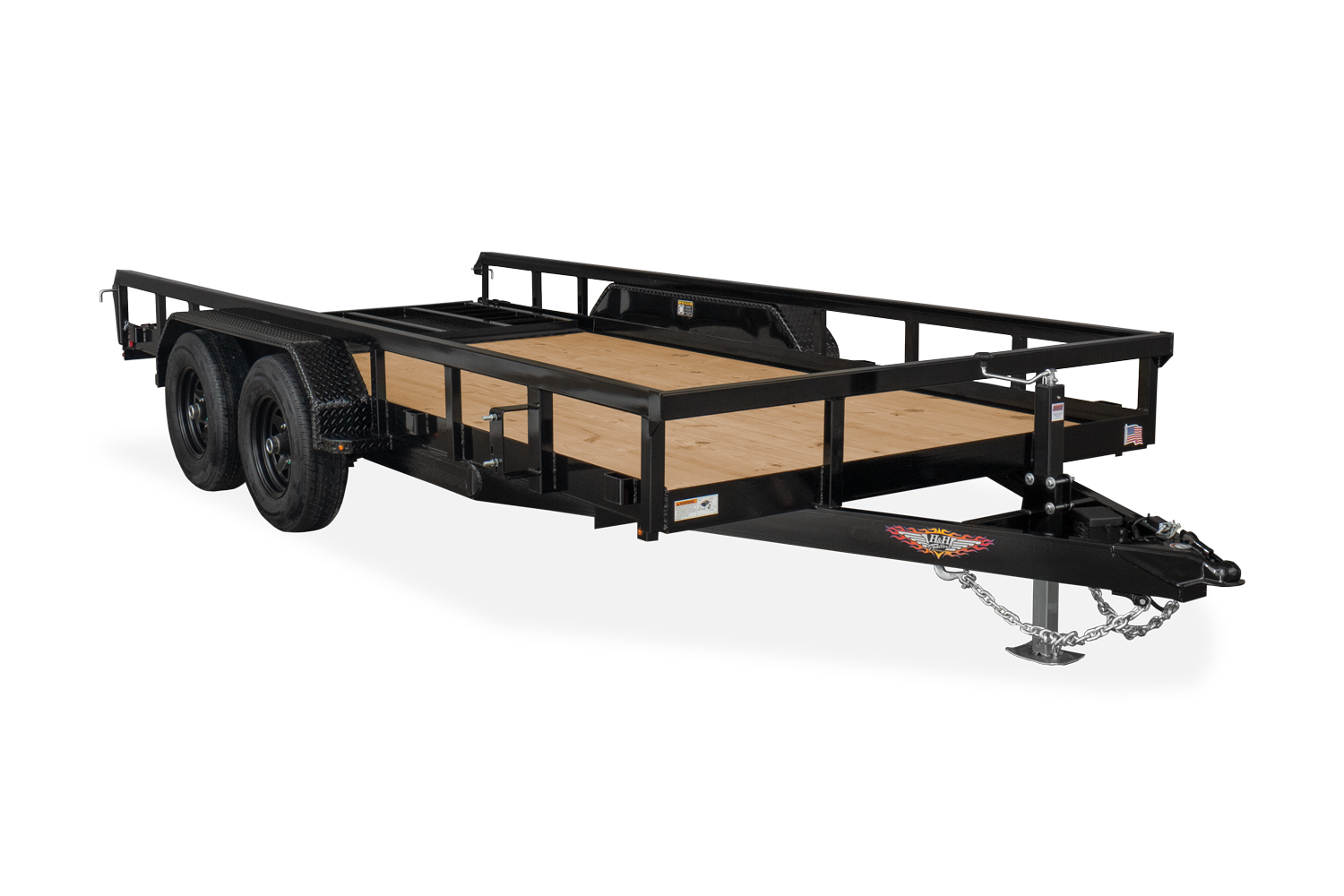 H&H Trailers Heavy Duty Rail Side Utility Ramp In Storage Position
